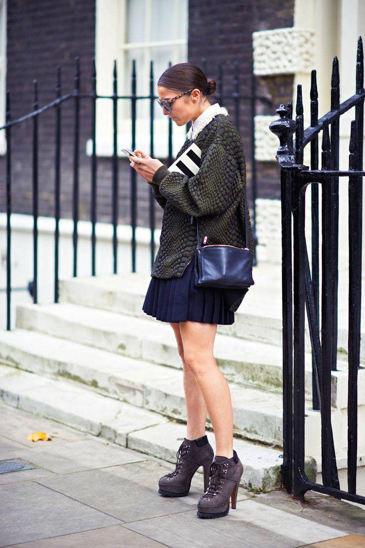 Name: Celestine Cooney Similar Sweater: Alex Kramer Skirt: J.W. Anderson for Topshop (shop similar: J.W. Anderson) Similar Boots: Burberry or Carvela Bag: Céline (shop similar: Ted Baker or Club Monaco)   - ELLE.com