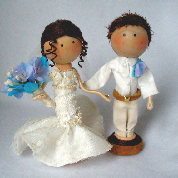 Bride and Groom Clothespin Art Dolls Cake Topper Custom Options - Pegtales Love Reality