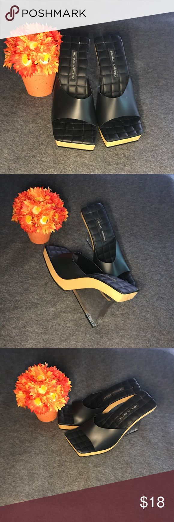 👠Unique Fun Acrylic Heels👠 👠Unique Fun Acrylic Heels👠 These fun dolls are cool wear. Always an attention grabber. Slightly used, black rubber upper band, quilted foot area, and clear heel.🛍 Michael Antonio Shoes Heels