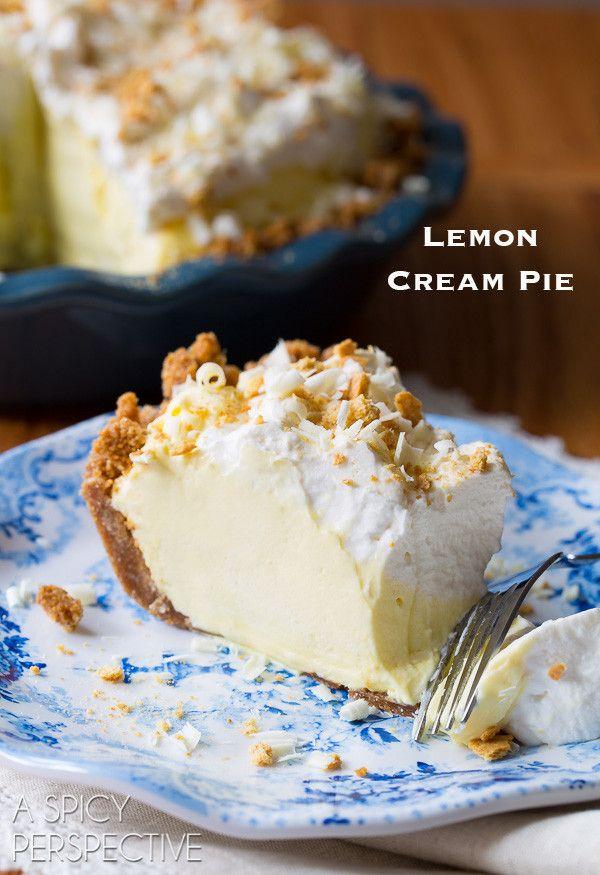 The Best Ever Lemon Cream Pie Recipe with Graham Cracker Crust on ASpicyPerspective.com #pie #spring #easter