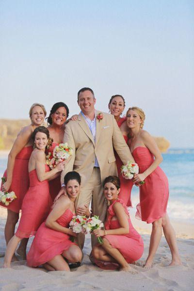 Coral Amsale bridesmaids dresses at a destination beach wedding160 best Tropical Bridesmaids Style images on Pinterest  . Destination Wedding Bridesmaids Dresses. Home Design Ideas