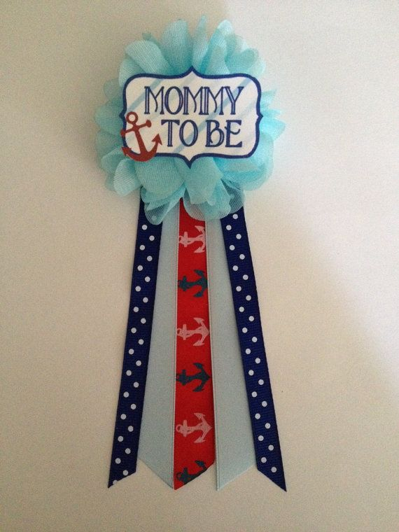 Blue Anchors Nautical Baby Shower Mommy-to-be Flower by afalasca