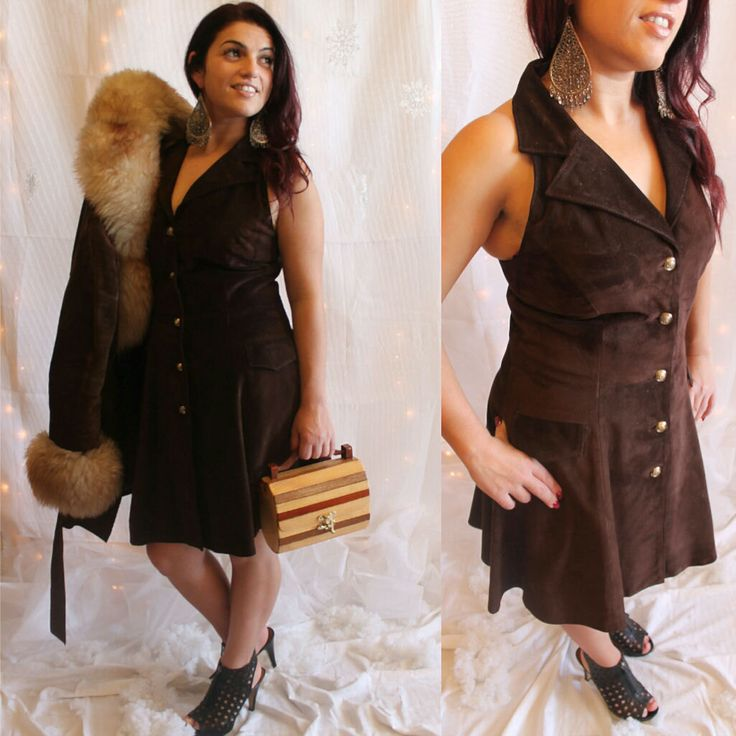 70's Brown Suede Criss Cross Mini Swing Dress Size: Medium by HotMamaVintage on Etsy
