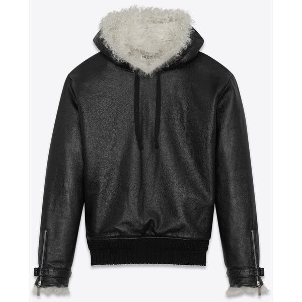 Saint Laurent Pull-over Jacket (€5.880) ❤ liked on Polyvore featuring men's fashion, men's clothing, men's outerwear, men's jackets, mens long jacket, mens real leather jackets and mens leather jackets