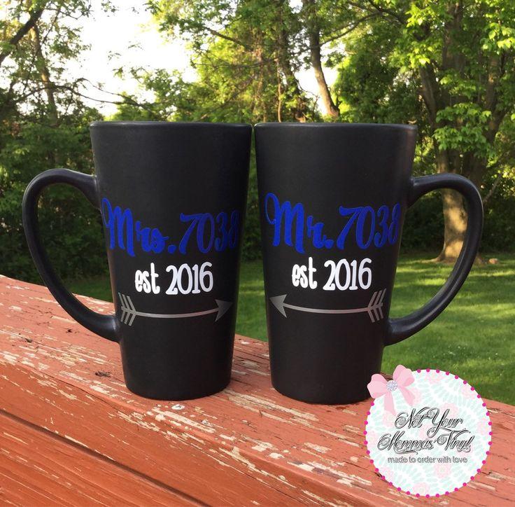 Mr. and Mrs. Police Badge Number Mug Set-police, police spouse, wedding gift, bridal shower gift, engagement gift, couple mugs by Notyourmommasvinyl on Etsy