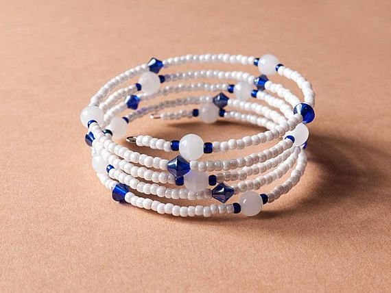 White and blue memory wire bracelet memory bracelet wrap