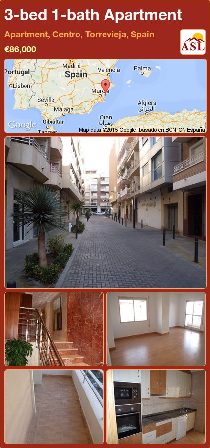 3-bed 1-bath Apartment in Apartment, Centro, Torrevieja, Spain ►€86,000 #PropertyForSaleInSpain