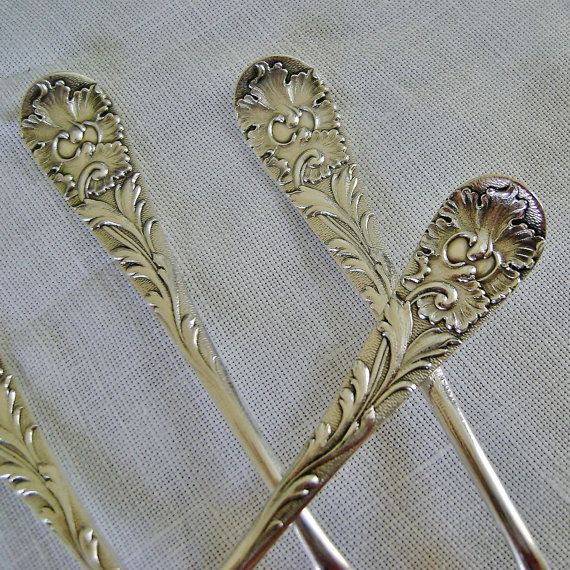 Antique Wood & Hughes sterling silver  set of 4 demitasse Victorian spoons in a variation of Louvre pattern.  These were designed circa 1885, the mark is from after 1871.  ... #etsygift #vogueteam