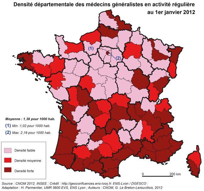 La démographie médicale en France, le risque des déserts médicaux. L'exemple de la Montagne ardéchoise. — Géoconfluences