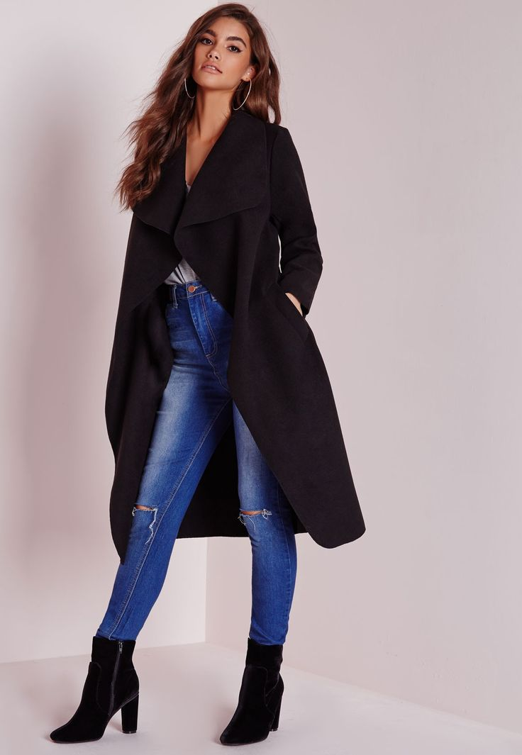 Missguided - Waterfall Coat Long Length Black