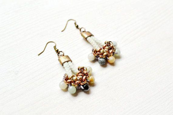 Tribal Earrings, Beaded Amazonite Earrings, Rope Drop Earrings, Chandeliers, Mint, Light Blue, Gemstone Earrings