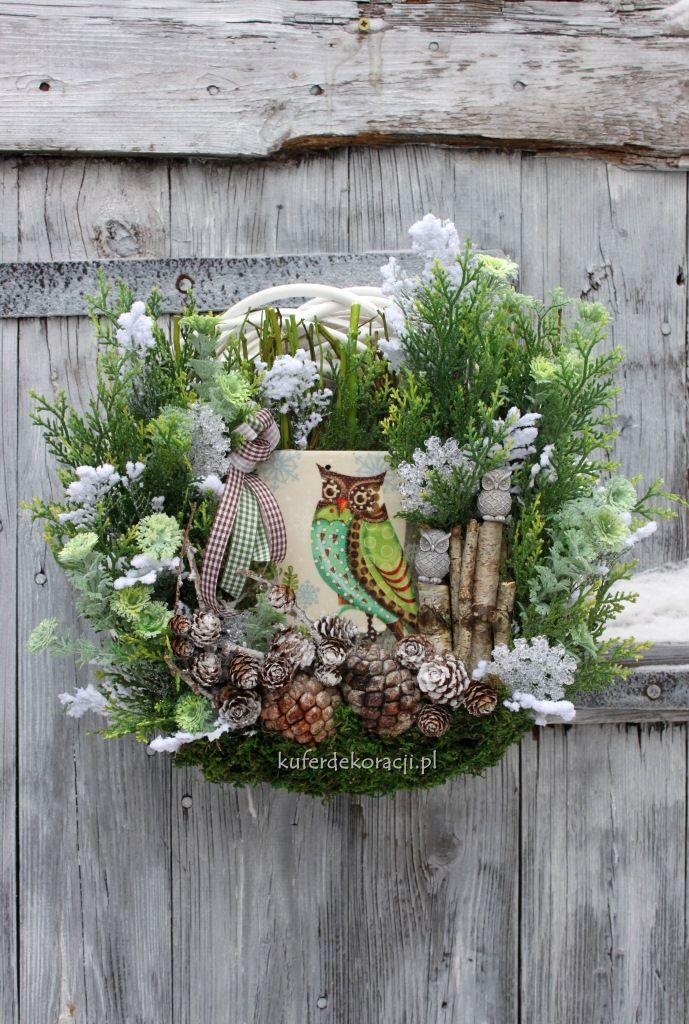 Wianek zimowy z sową-wśród gałązek i szyszek, ozdoba, dekoracja do domu, do…