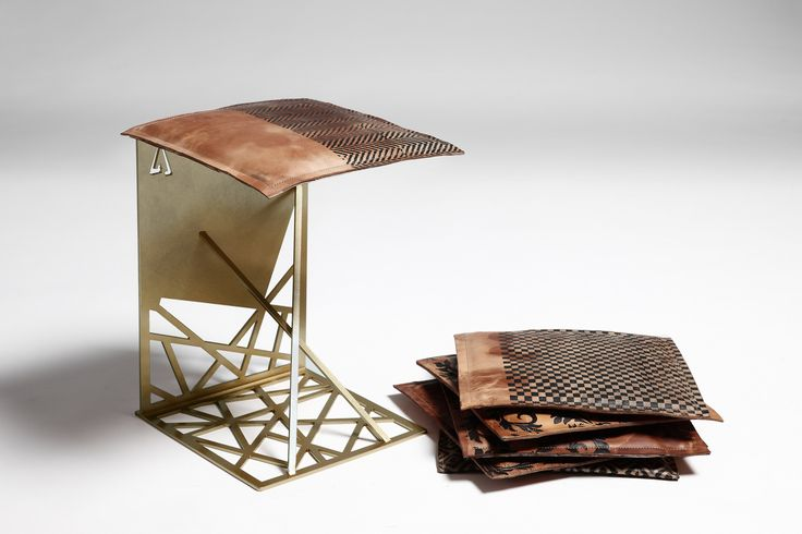 steel seat with leather pillow #design #furniture #harrierdesign #gold #stool #seat #leather