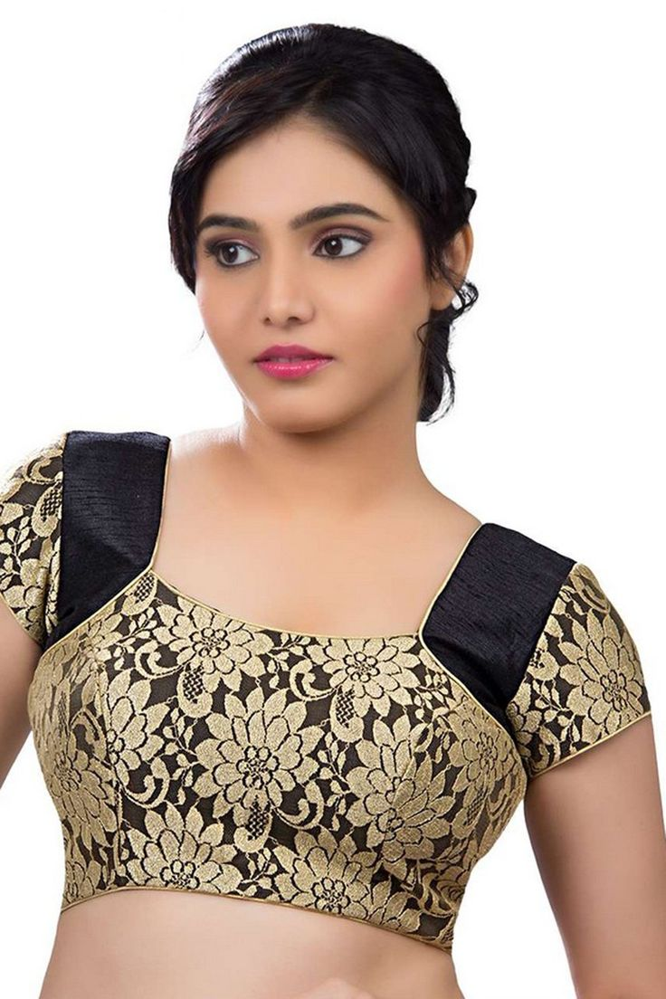 Black & gold designer wear raw silk with net layer lovely blouse with cap sleeves -BL702