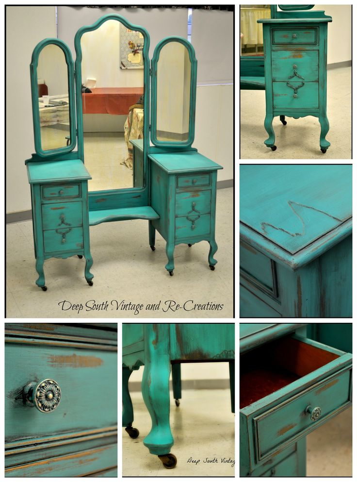 Vintage vanity by Deep South Re-Creations.  Annie Sloan Chalk Paint, Florence.  Making forgotten furniture unforgettable.  Visit us at... www.facebook.com/deepsouthrecreations.  Chalk paint, vintage, tri-mirror vanity, shabby chic, distressed, painted furniture, aqua vanity, turquoise vanity.