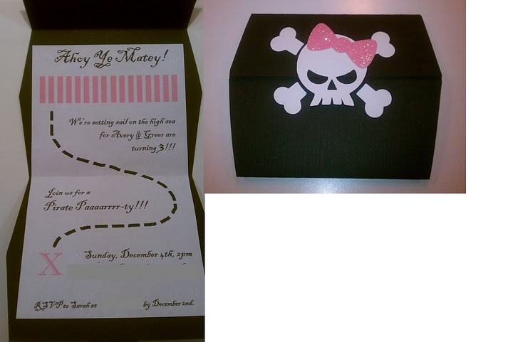 """Avery & Greer's 3rd birthday """"Girl Pirate Party"""" invitation!"""