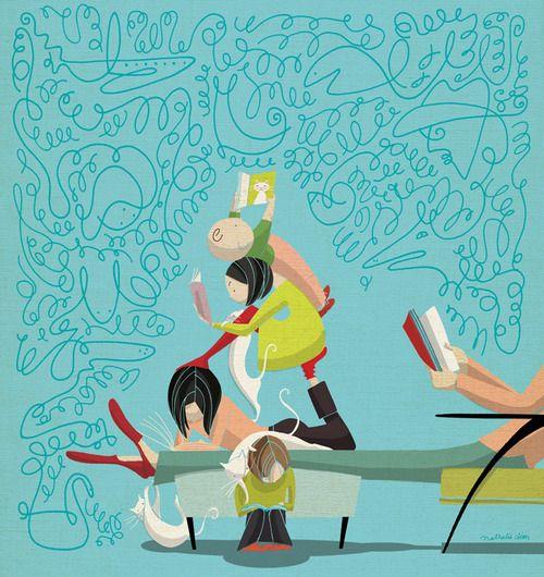 We read together, imagine together / Leemos juntos, imaginamos juntos (ilustración de Nathalie Dion)