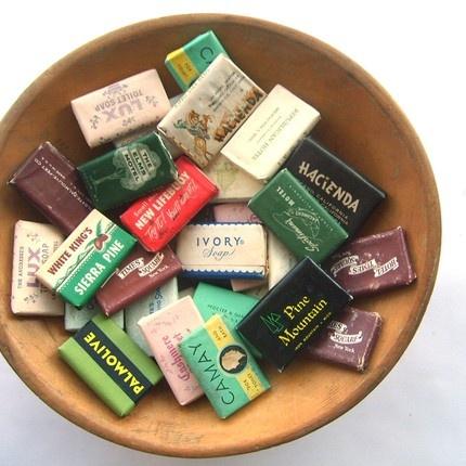 vintage mini hotel & advertising soap bars