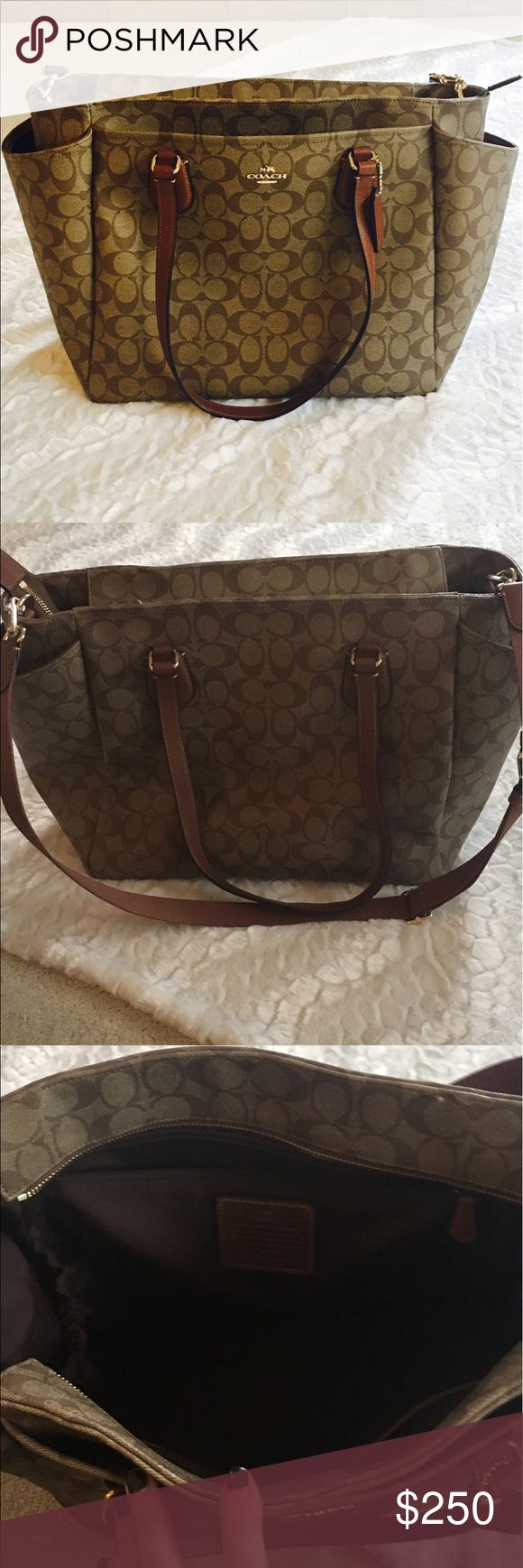 Coach travel bag Authentic coach genuine leather, five inside pockets plus inside side pockets for shoes, outside side pockets and outside front pocket, adjustable strap and comes with laptop protector. 16Lx6.5Wx13H. Slightly Used but no imperfections Coach Bags Travel Bags