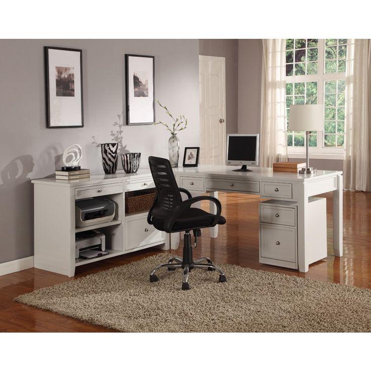 Parker House Boca 3pc L-Shaped Desk & Credenza in Cottage White Finish