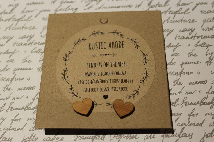 Handmade Wooden Laser Cut Stud Earrings ~ Heart