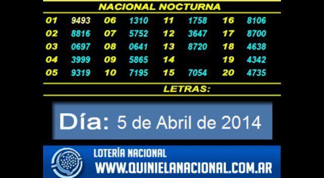 Loteria Nacional - La Quiniela Nacional Nocturna Sabado 5 de Abril de 2014. Fuente: www.quinielanacional.com.ar