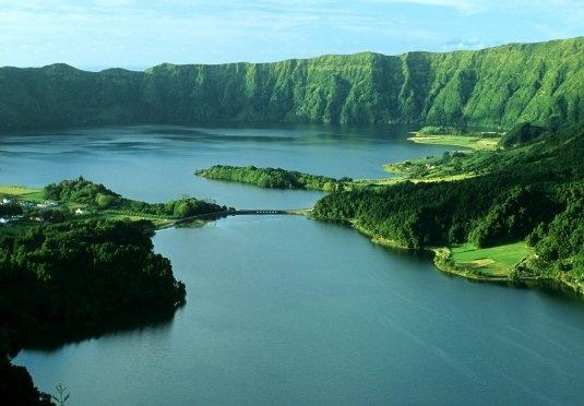 Lagoa das sete cidades on Island of Sao Miguel in the Azores, Portugal