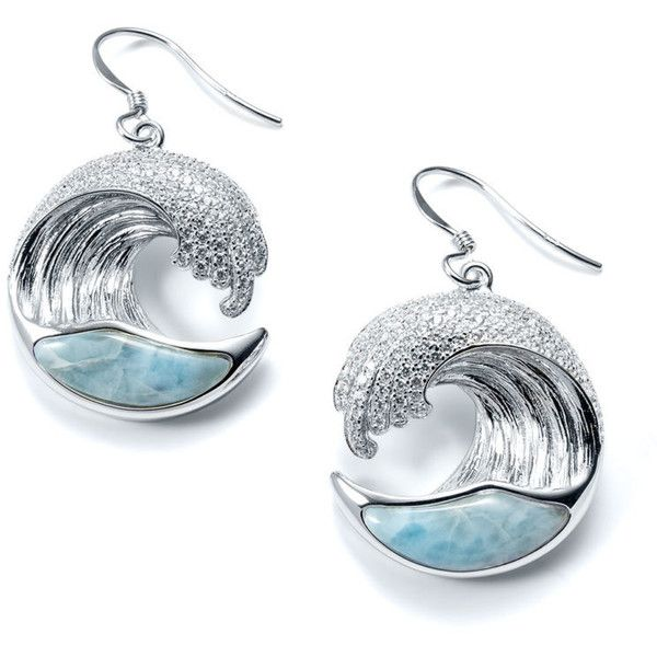 Larimar Wave Earrings ❤ liked on Polyvore featuring jewelry, earrings, clear earrings, larimar jewelry, clear crystal earrings, earring jewelry and pave jewelry