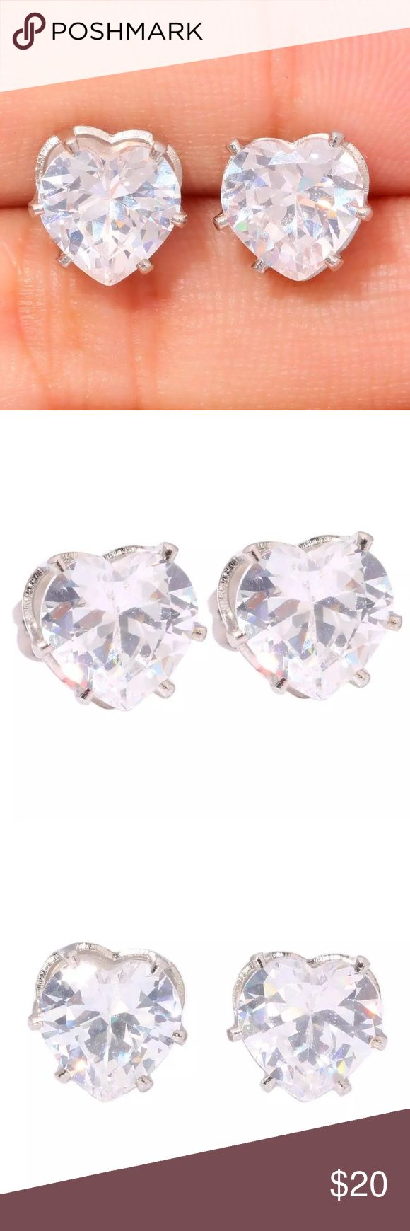 Authentic White Topaz & Stainless Steel Earrings Boutique