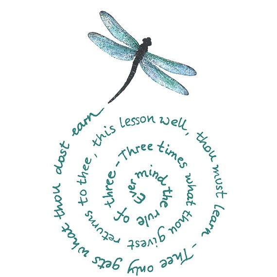 The Witches Rule of three - dragonfly - CLING STAMP by Cherry Pie Art Stamps