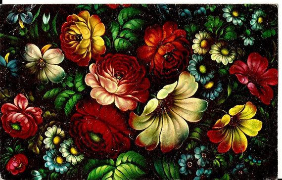 Flowers Roses - Decorative Painting - Russian Vintage Postcard USSR Unused by LucyMarket, $2.99