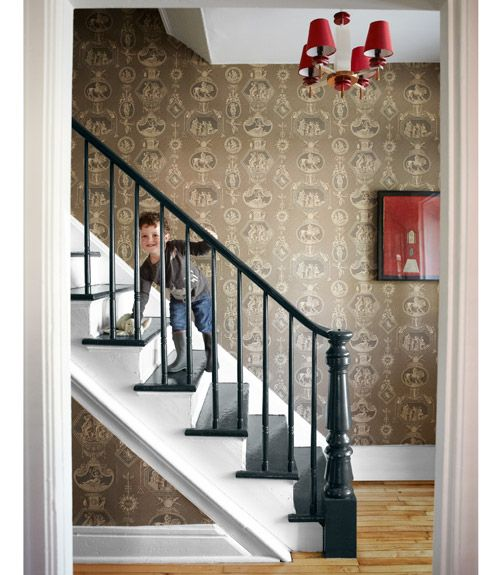 Love the pop of red provided by this vintage art deco chandelier.    #stairways #decorating