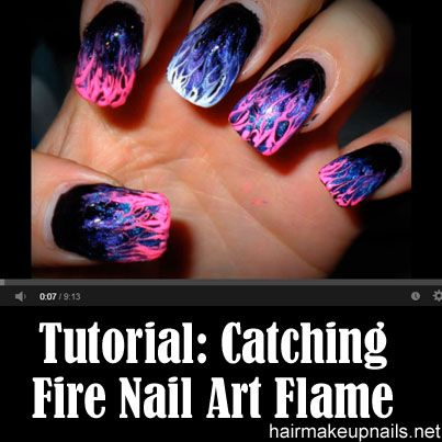 Catching Fire Nail Art Flame Marble Tips (Level 1) I would try this in different colors but I think it looks really cool!
