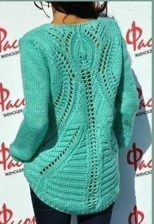 Hátul hosszított kötött pulóver