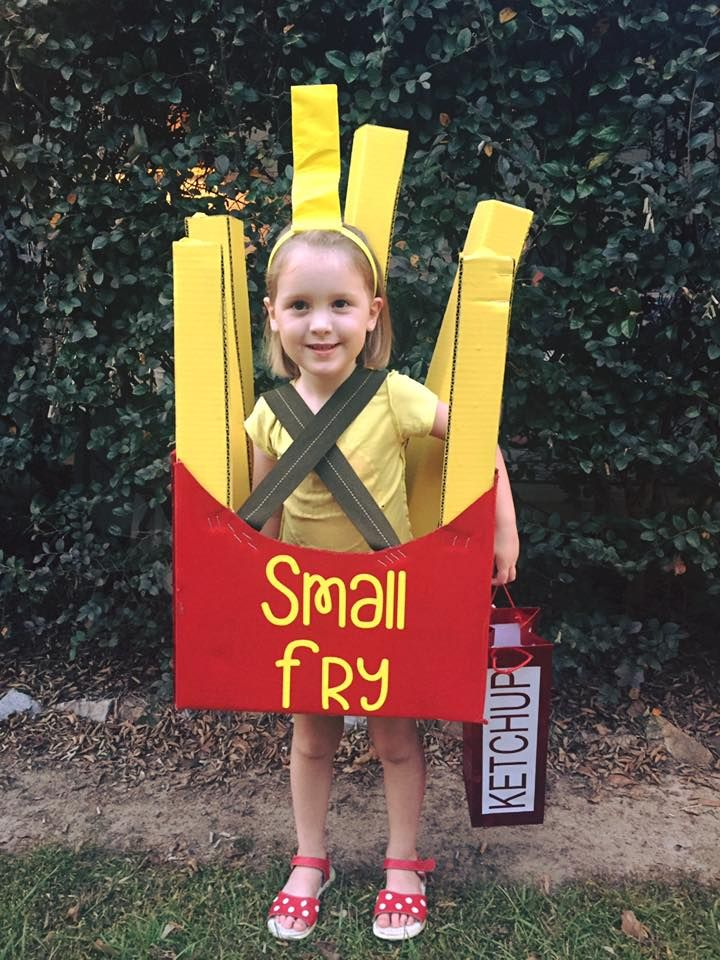 DIY french fry costume made out of a little cardboard, spray paint and a heavy duty staple gun. Matching ketchup bag for treats.
