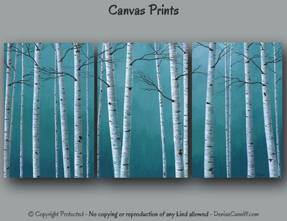 Teal Green Wall Decor : Ready to hang canvas wall art multi panel birch tree