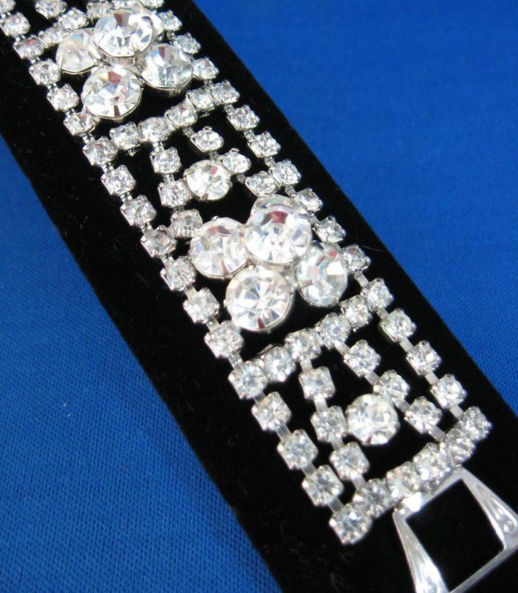 Rhinestone Bracelet Hand Prong Set 3 Dimensional Mid Century 1950s Luxe Hollywood #rhinestonebracelet #gotvintage