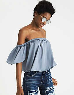 b5c4f2dbc1bc6 AEO Silky Off-the-Shoulder Top - Mens Outfitters