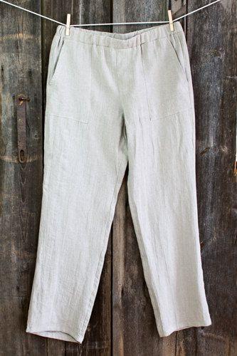 MEN Linen PANTS - Natural gray linen men pants, size S-XL, prewashed, preshrunk, linen pajama, homewear, slipwear, leisure wear