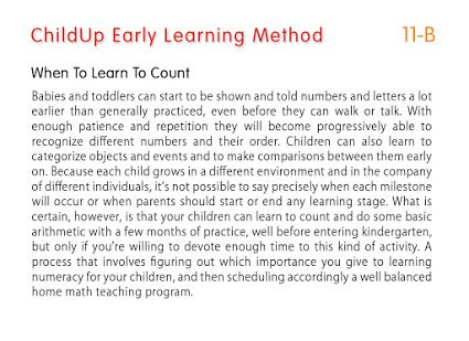 The ChildUp Early Learning Method: When to Learn to Count... #EarlyLearning #Preschool #Parenting