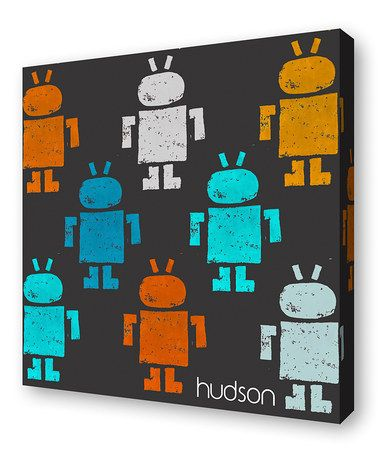 Look what I found on #zulily! Gray Robot Personalized Canvas Wall Art #zulilyfinds