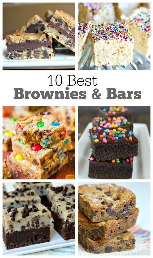 10 Best Brownie Recipes and Bar Recipes that are perfect for selling at bake sales... or just baking on the weekend for your family or for a potluck. Included are bars with chocolate, peanut butter, cookie dough, krispie treats and more!