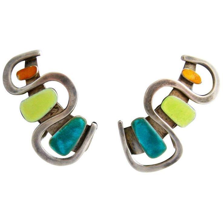 Sterling Silver Enamel Earrings by Novitt | From a unique collection of vintage clip-on earrings at https://www.1stdibs.com/jewelry/earrings/clip-on-earrings/