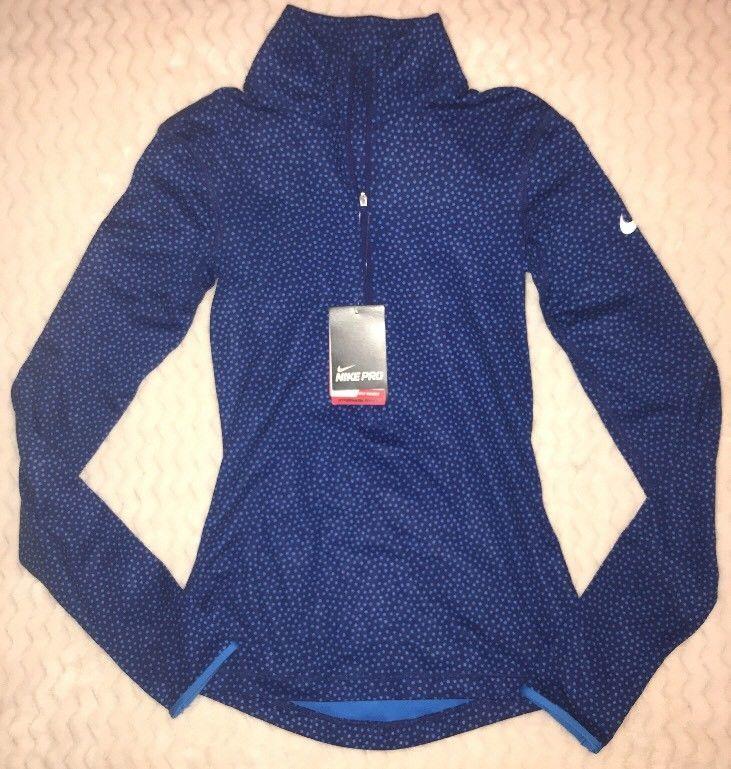 Nike Pro Women's Blue Polka Dot Long Sleeve Half Zip Hyperwarm Size XS  | eBay