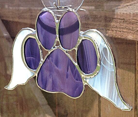 Paw With Wings Stained Glass Sun Catcher
