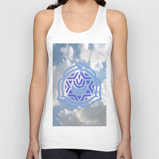 American Apparel Fine Jersey Tank Tops are made with 100% fine jersey cotton combed for softness and comfort. Heather Grey contains 10% Polyester.   ABOUT THE ART speaks clearly, The Greek sky above the Parthenon, the throat chakra of communication, light embrace the sky