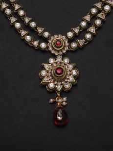 Two string kundan set with pink and white stones