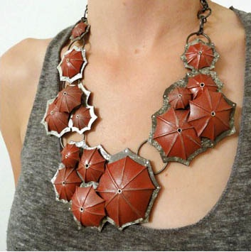 Necklace |  Tova Lund.   'Umbrella'.  Sterling silver, tin and copper.