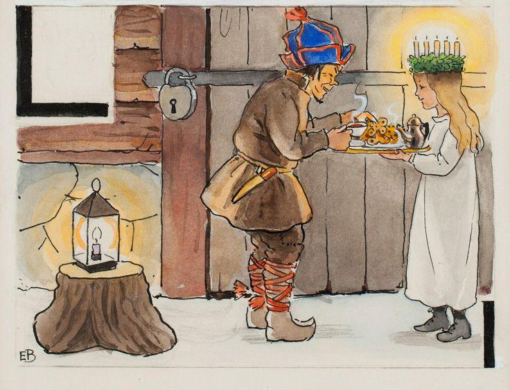 Elsa Beskow - Swedish Alphabet - girl bringing Lucia buns and coffee