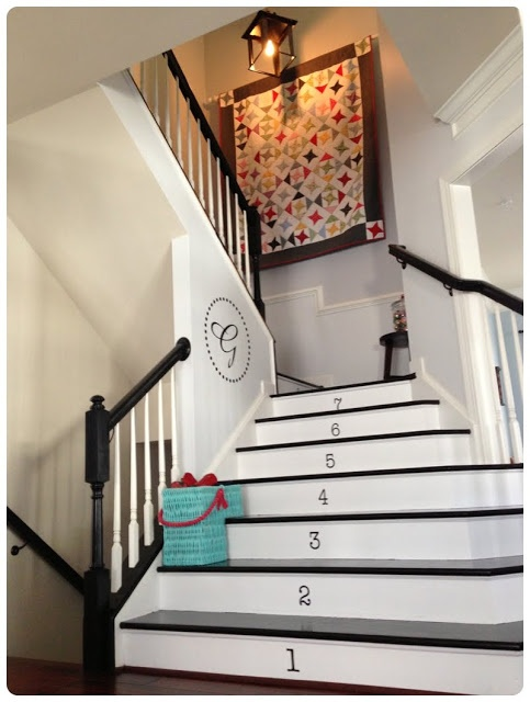 numbered farmhouse stairs :)